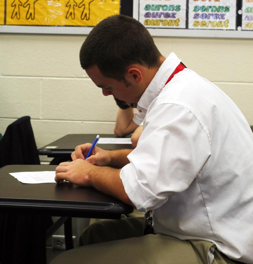 Jim Fine taking a test